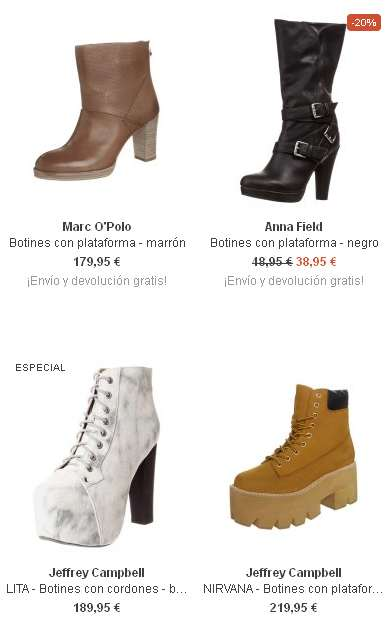 botines con plataformas a la moda mujer