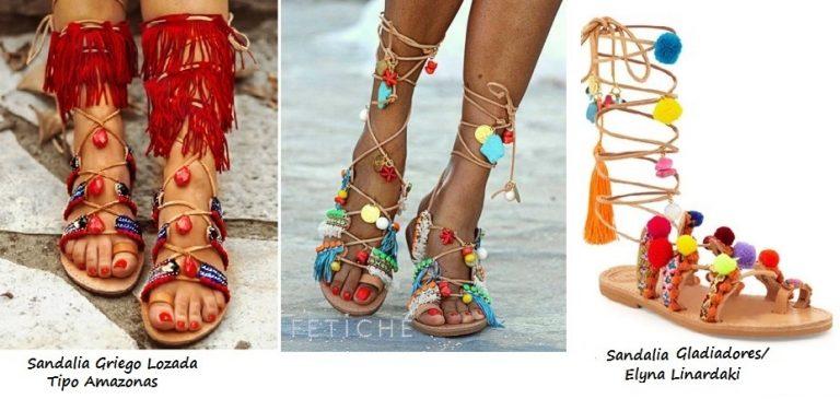 Sandalias Gladiadoras de estilo étnico