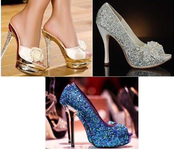 Zapatillas doradas y plateadas