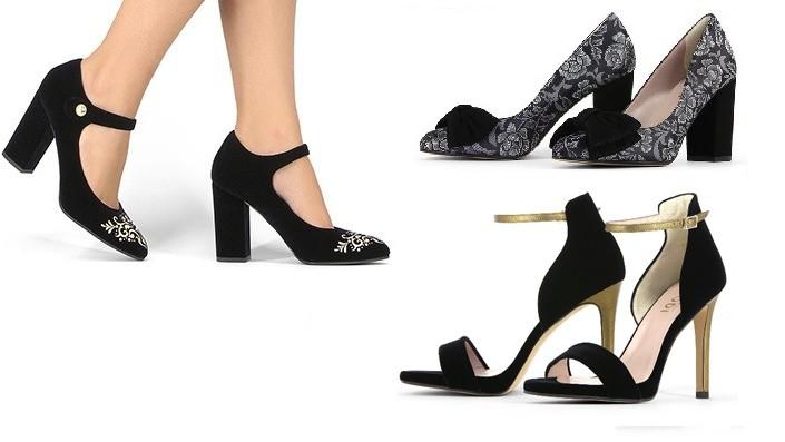 Zapatos negros y de tacón alto